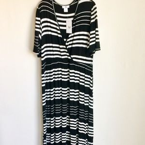Amelia James Stripe B W Maxi Dress Size 3X NWTS